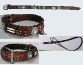 LDC-LDL-110 - Crocodile Printed Leather Collar & Lead