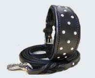 LDC-LDL-707-BLK - GreyHound Dog Collar & Lead set